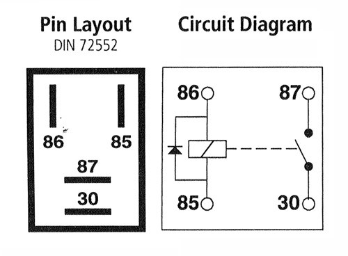 Micro Relay 4-pin 12v 20A, Open with Diode
