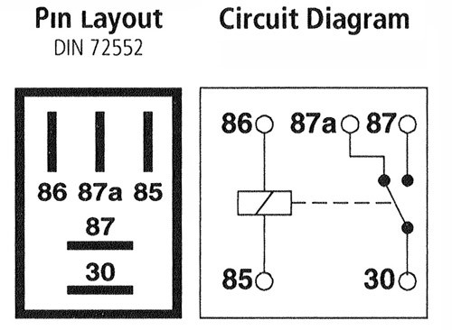 Micro Relay 5-pin, Changeover, 12v 20A