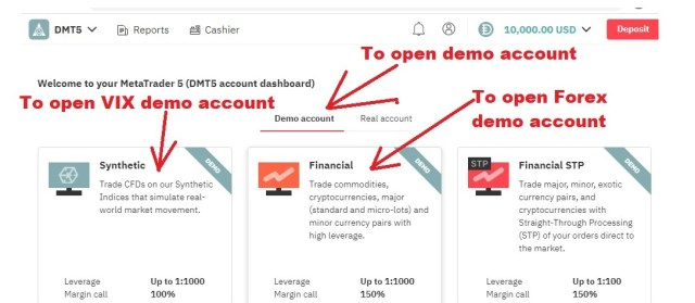 How to open volatility Index account open demo account