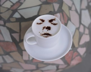 human face latte art