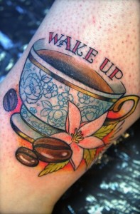 antique coffee tattoo