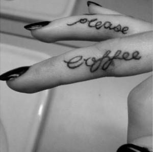 cursive finger tattoo