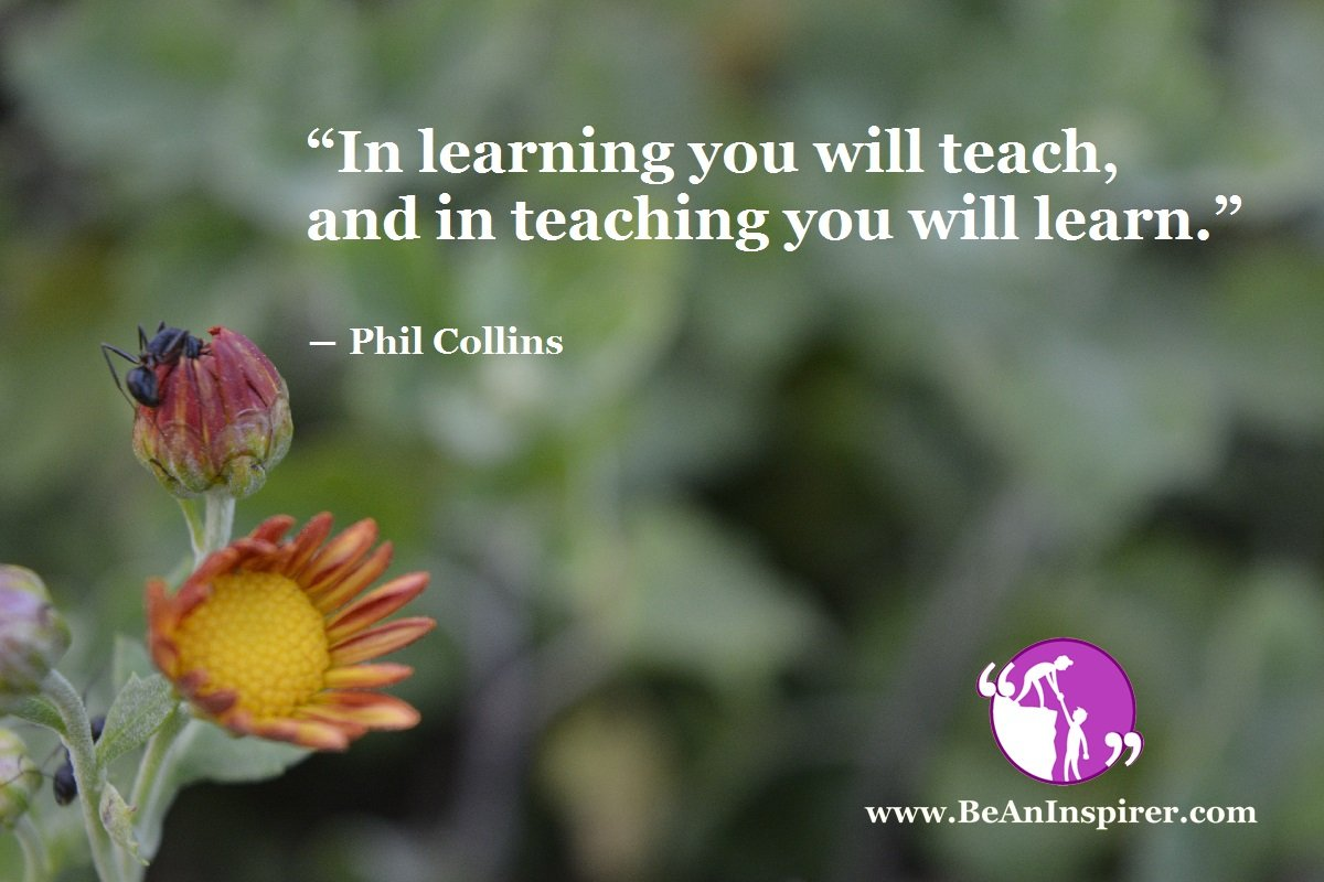 """In learning you will teach, and in teaching you will learn."" ― Phil Collins"