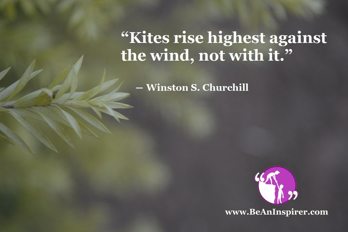 """""""Kites rise highest against the wind, not with it."""" ― Winston S. Churchill"""