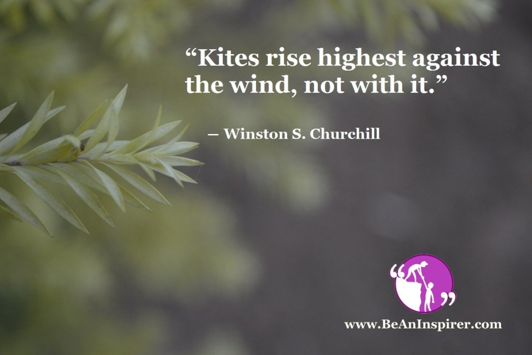 """Kites rise highest against the wind, not with it."" ― Winston S. Churchill"