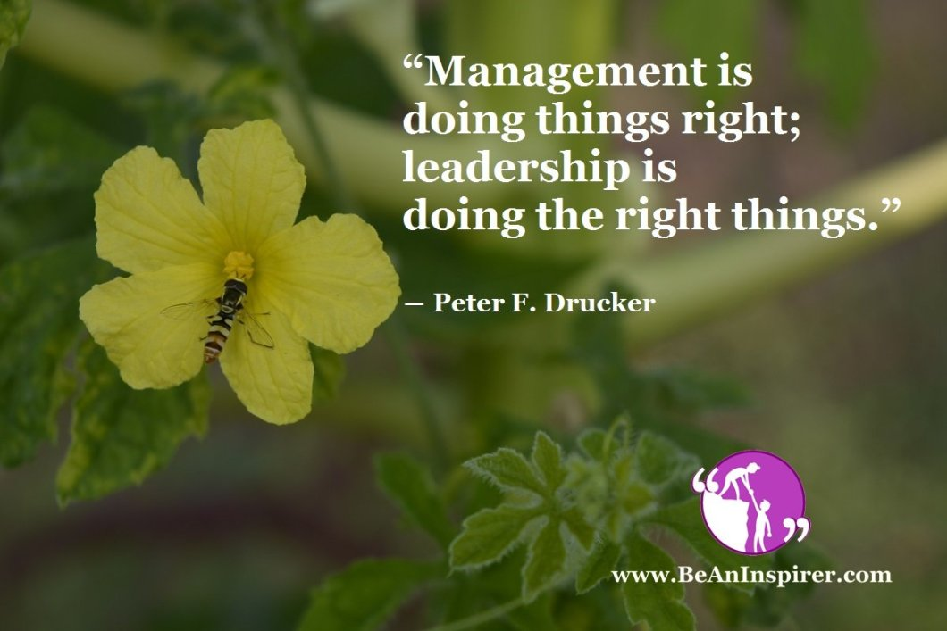 """""""Management is doing things right; leadership is doing the right things."""" ― Peter F. Drucker"""