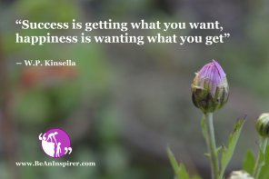"""""""Success is getting what you want, happiness is wanting what you get"""" ― W.P. Kinsella"""