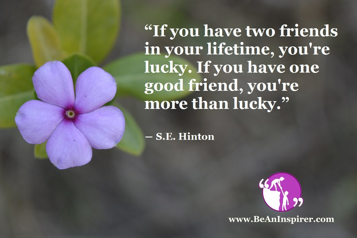 """If you have two friends in your lifetime, you're lucky. If you have one good friend, you're more than lucky."" ― S.E. Hinton"
