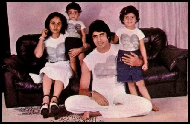 Amitabh Bachchan with his family - Wife Jaya Bhaduri Bachchan, Daughter Shweta Bachchan Nanda and Son Abhishek Bachchan
