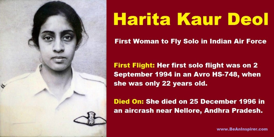 Harita-Kaur-Deol-the-first-woman-to-fly-solo-in-Indian-Air-Force-Be-An-Inspirer