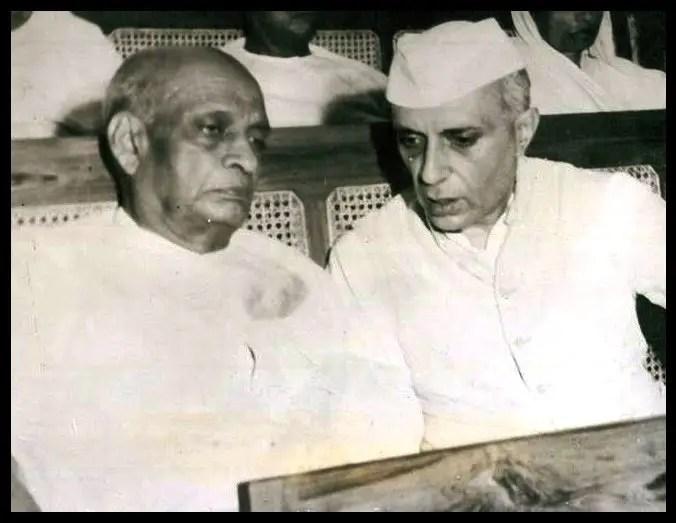 Vallabhbhai Jhaverbhai Patel with Jawaharlal Nehru