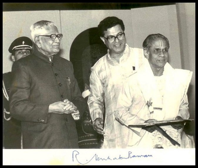 Former-Indian-President-Ramaswamy-Venkataraman-Girish-Karnad-and-Adyar-K-Lakshman-Receiving-Sangeet-Natak-Academy-Award-in-1991-Be-An-Inspirer