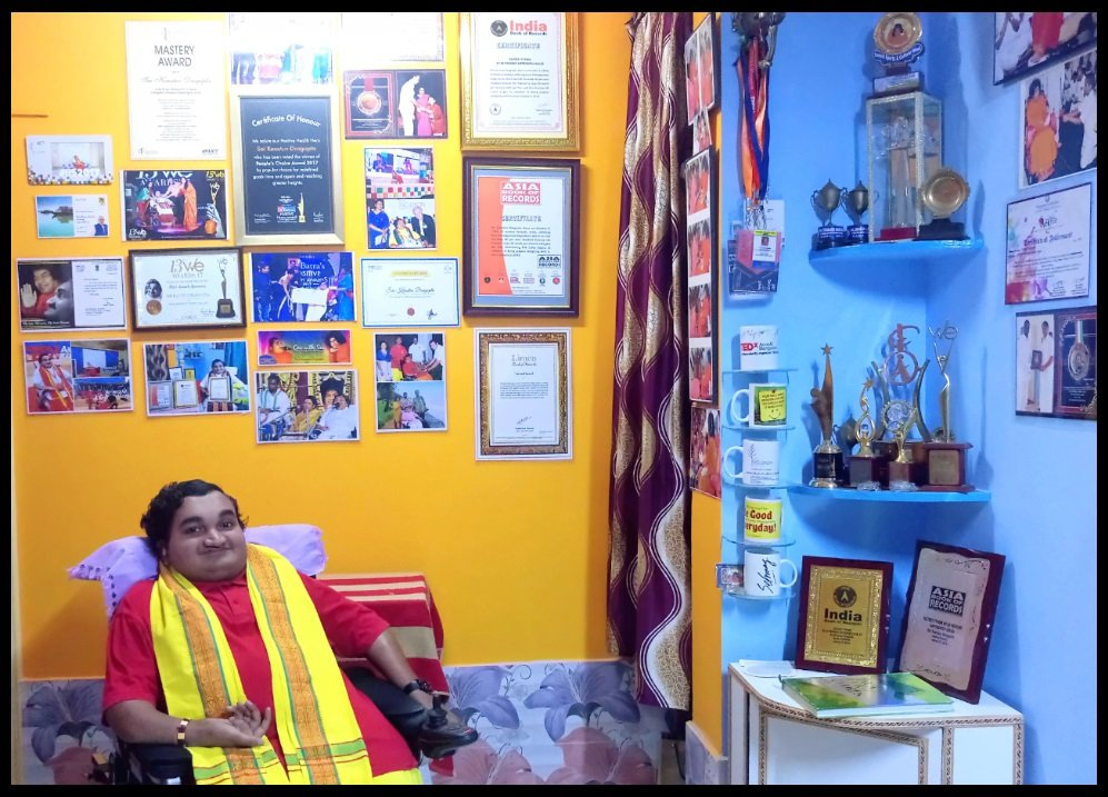 Sai-Kaustuv-at-his-house-Puttaparthi-Andhra-Pradesh-with-some-of-his-Awards-&-Achievements-Be-An-Inspirer