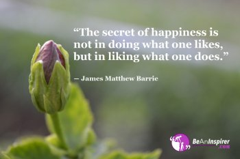 The-secret-of-happiness-is-not-in-doing-what-one-likes-but-in-liking-what-one-does-James-Matthew-Barrie-Happiness-Quote-Be-An-Inspirer