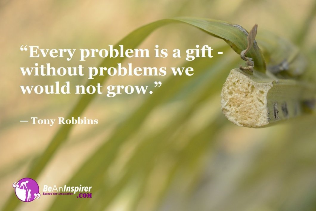"""Every problem is a gift - without problems we would not grow."" — Tony Robbins"