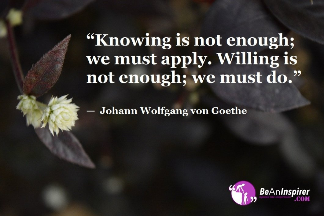 """Knowing is not enough; we must apply. Willing is not enough; we must do."" — Johann Wolfgang von Goethe"