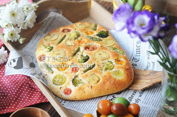 蔬菜火腿佛卡夏【田園風味】Focaccia with Ham & Vegetables Recipe