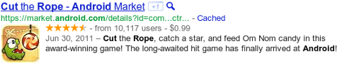 Example of application snippet from Google search results.