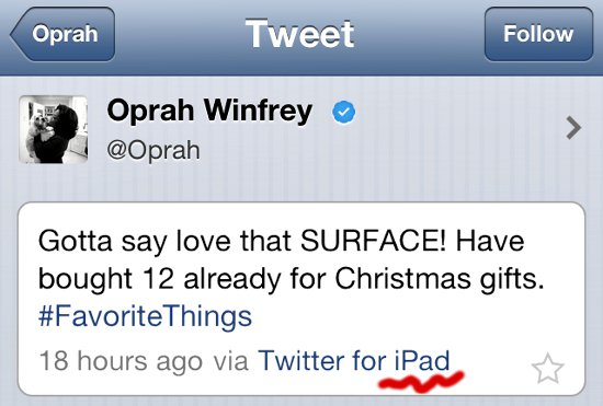 Oprah Tweets about the Surface using her iPad