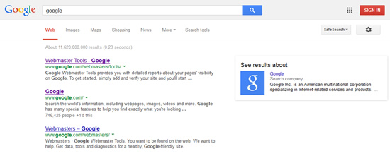 Google homepage on search.
