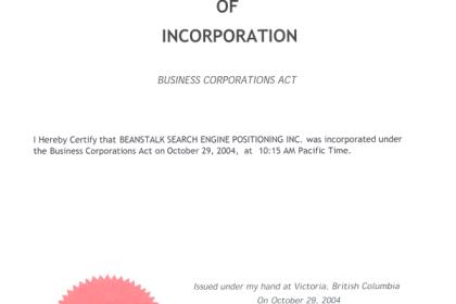 Beanstalk corporate certificate. October 29, 2004.