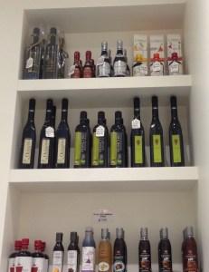Shelves of olive oil at Brutti & Boni