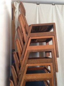 stack of chairs, Violet