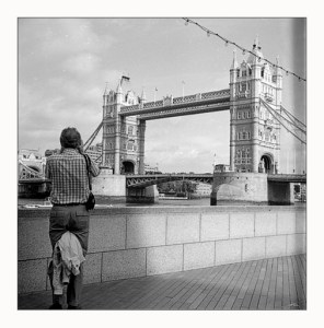 Microcord image of Tower Bridge with tourist in foreground