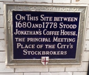 Jonathan's coffee house plaque