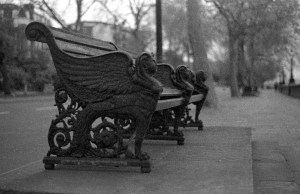 Bench with heads developed in coffee