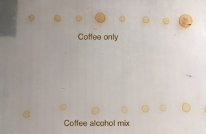 dried coffee stains, alcohol and coffee