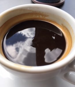 ripples on coffee at Rosslyn, the City