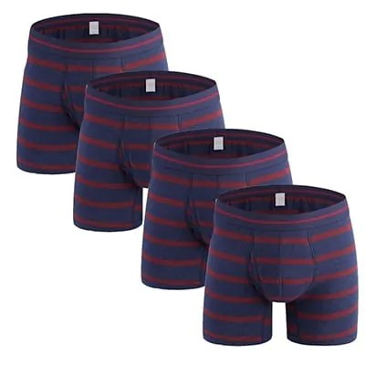 Striped Colourful Comfort Pouch Long Boxer Briefs 4Pack