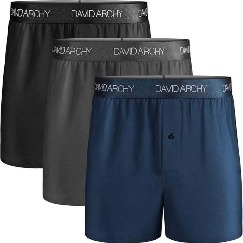 DAVID ARCHY Men's Boxers Multipack Soft Cotton Mens Boxers Briefs with Open Fly, No Ride up Men's Underwear Boxers Shorts - 3 Pack / 4 Pack