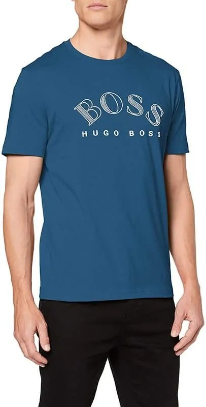 BOSS Mens Tee 1 Cotton-Jersey T-Shirt with Curved-Logo Print