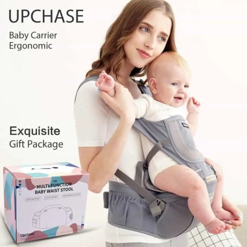 Upchase Baby Carrier, Ergonomic Hip Seat, Adjustable Multifunction, Front and Backpack Baby Carrier, Detachable Seat Baby Carrier, Lightweight and Breathable (0-36 Month) Grey