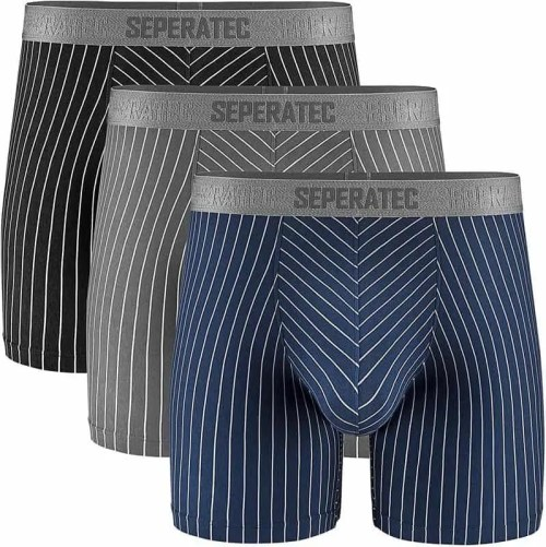 Separatec Men's Boxer Briefs Soft Cotton with Separated Pouches Underwear 3 Pack Boxer Shorts Stylish Stripe Trunks