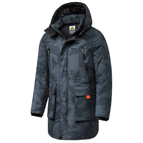 Long Casual Camouflage Hooded Parka Coat
