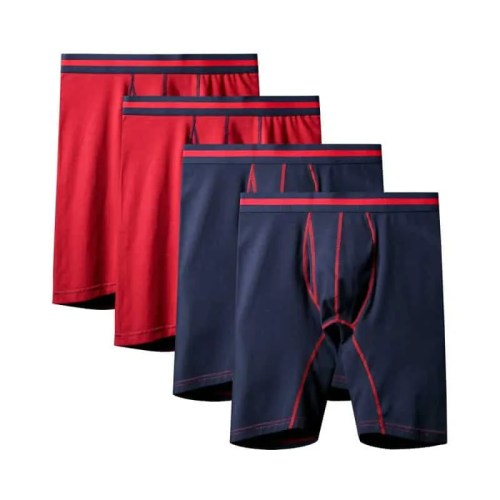 4Pcs/lot Hot Sell Fashion Sexy Quality Large Size New Solid Long Boxers Shorts Cotton Mens Bikini Underwear Men Sexy Underwears