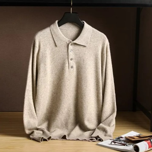 Cashmere Knitted Men's Polo Sweater