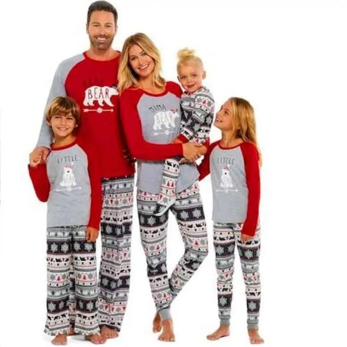 Papa Mama Baby Bear Christmas Pajamas Family Matching Pyjamas
