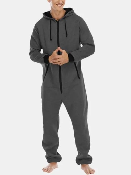 Mens Cotton Hooded Pocket Long Sleeve Home Jumpsuit Zipper Sleepwear