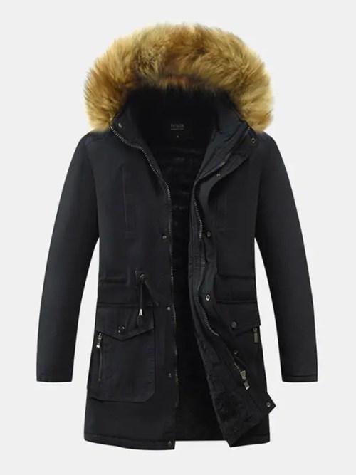 Mens Warm Fur Hooded Drawstring Coat