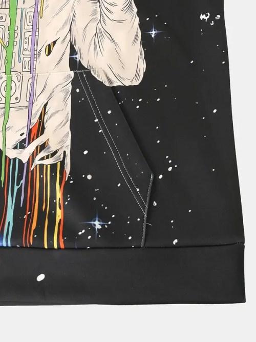 Astronaut Pattern Galaxy Print Kangaroo Pocket Drawstring Hoodie