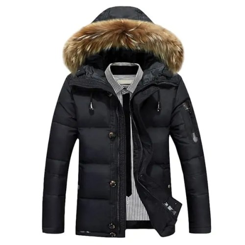 Mens Down Jackets Thick Warm Fur Collar Puffer Hooded Parka