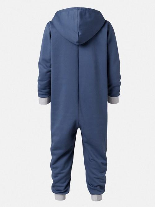 Mens Colour Block Patchwork Zipper Hooded Jumpsuit Onesies