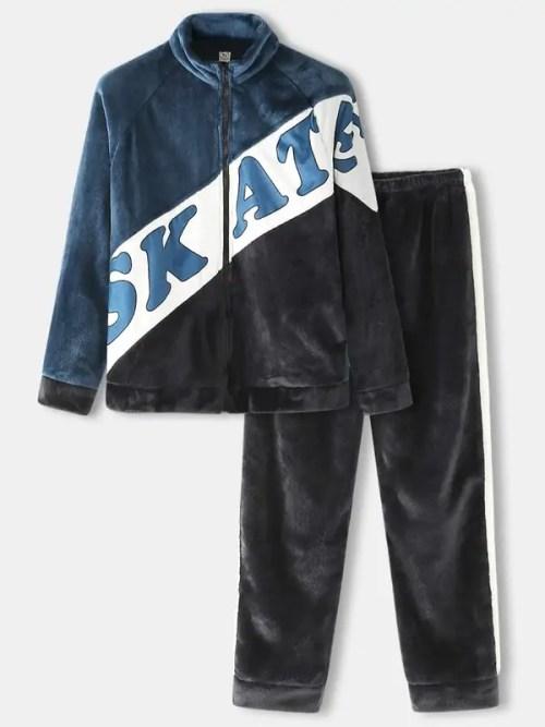 Mens Letter Print Zip Front Raglan Sleeve Flannel Cozy Loungewear Set