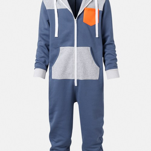 Mens Colour Block Patchwork Zipper Hooded Jumpsuit Onesies