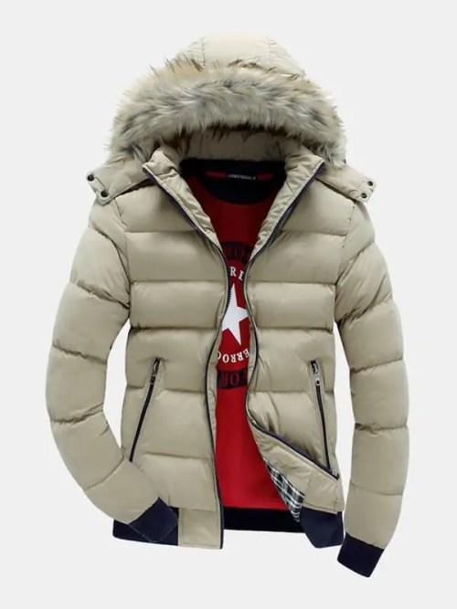 Contrasting Patchwork Zipper Detachable Parka Coat
