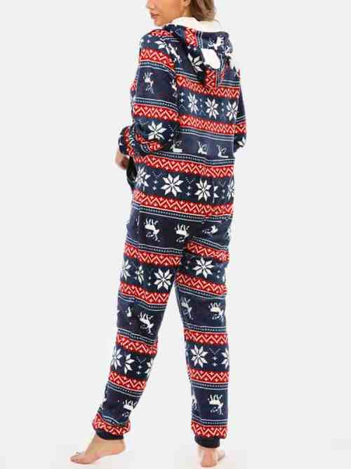Plus Size Womens Christmas Snowflake Hooded Onesie
